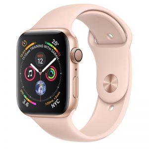 أبل ساعة من السلسلة 4 مقاس 40 مم مزودة بخاصية GPS غطاء ألمنيوم ذهبي مع رباط رياضي باللون الوردي