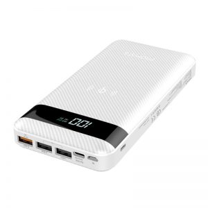 بروميت USB-C Qi Power Bank, Qi-Certified 10W Fast Wireless 20000mAh Battery Charger with 18W Two-Way Type-C Power Delivery, QC 3.0 Three USB Port, LED Display and Lightning, Micro USB Input for Qi and USB Enabled Devices, AuraTank-20 White 20000 مللي أمبير / ساعة 10 سنتيمتر White