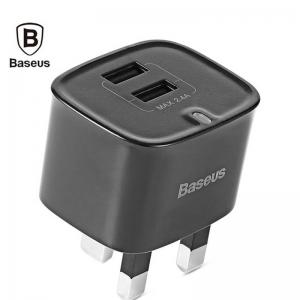 بيسوس Funzi شاحن ثنائي  USB قابس بريطاني ثلاثي 2.4 امبير لون اسود