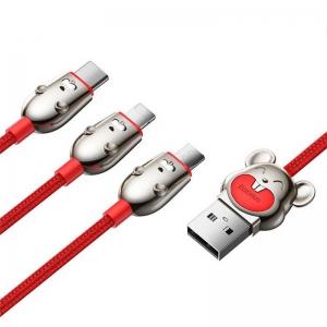 بيسوس كيبل Three Mouse ثلاثة في واحد  Cable USB   مايكرو + لايتننج + تايب سي  3.5 امبير  1.2 متر  احمر