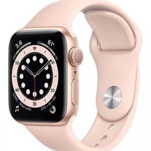 ساعة ابل سيريز 6 مقاس 44 مم بنظام تحديد المواقع هيكل ألمنيوم ذهبي بسوار رياضي باللون الوردي الرمليّ