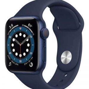 ساعة ابل سيريز 6 مقاس 44 مم بنظام تحديد المواقع هيكل من الألومنيوم بلون أزرق مع سوار رياضي كحلي داكن