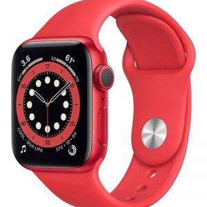 ساعة ابل سيريز 6 مقاس 44 مم بنظام تحديد المواقع المنتج (أحمر) علبة من الألومنيوم مع منتج (أحمر) سوار رياضي