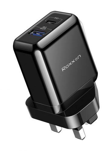 Roxxon 18W PD+QC Charger UK plug Black