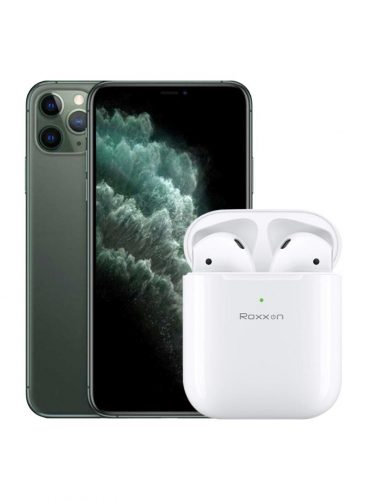 Apple iPhone 11 Pro  Midnight Green 256GB 4G +Roxxon B-5 Wireless Airbuds White