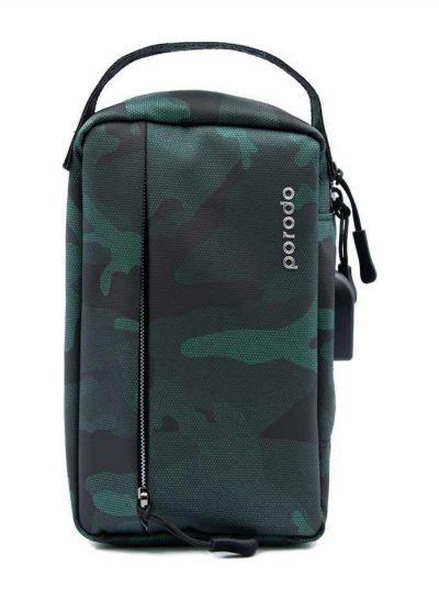 بورودو حقيبة تخزين جلدية مريحة مقاس 8.2 بوصة اخضر داكن مموه