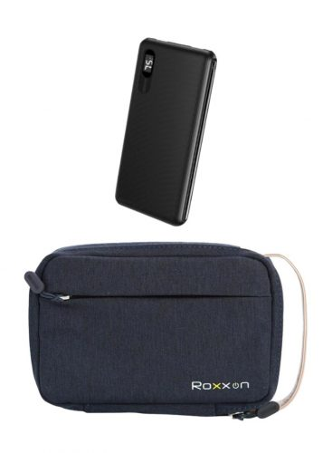 حقيبة روكسون ازرق + روكسون باور بنك 10000 مللي امبير اسود