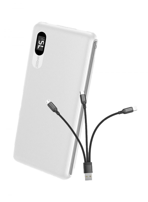 Power Bank Roxxon 10000mAh With Digital Display White +free cable